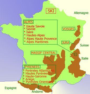Carte de France station de ski